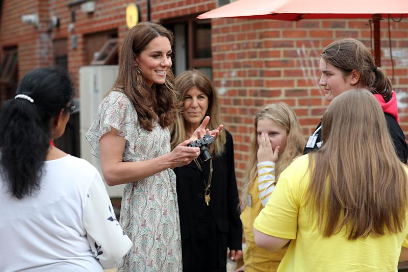 KINGSTON, ENGLAND - JUNE 25: Catherine, Duchess of Cambridge and photographer Jillian Edelstein join a photography workshop for Action for Children, run by the Royal Photographic Society at Warren Park on June 25, 2019 in Kingston, England. (Photo by Chris Jackson/Getty Images)