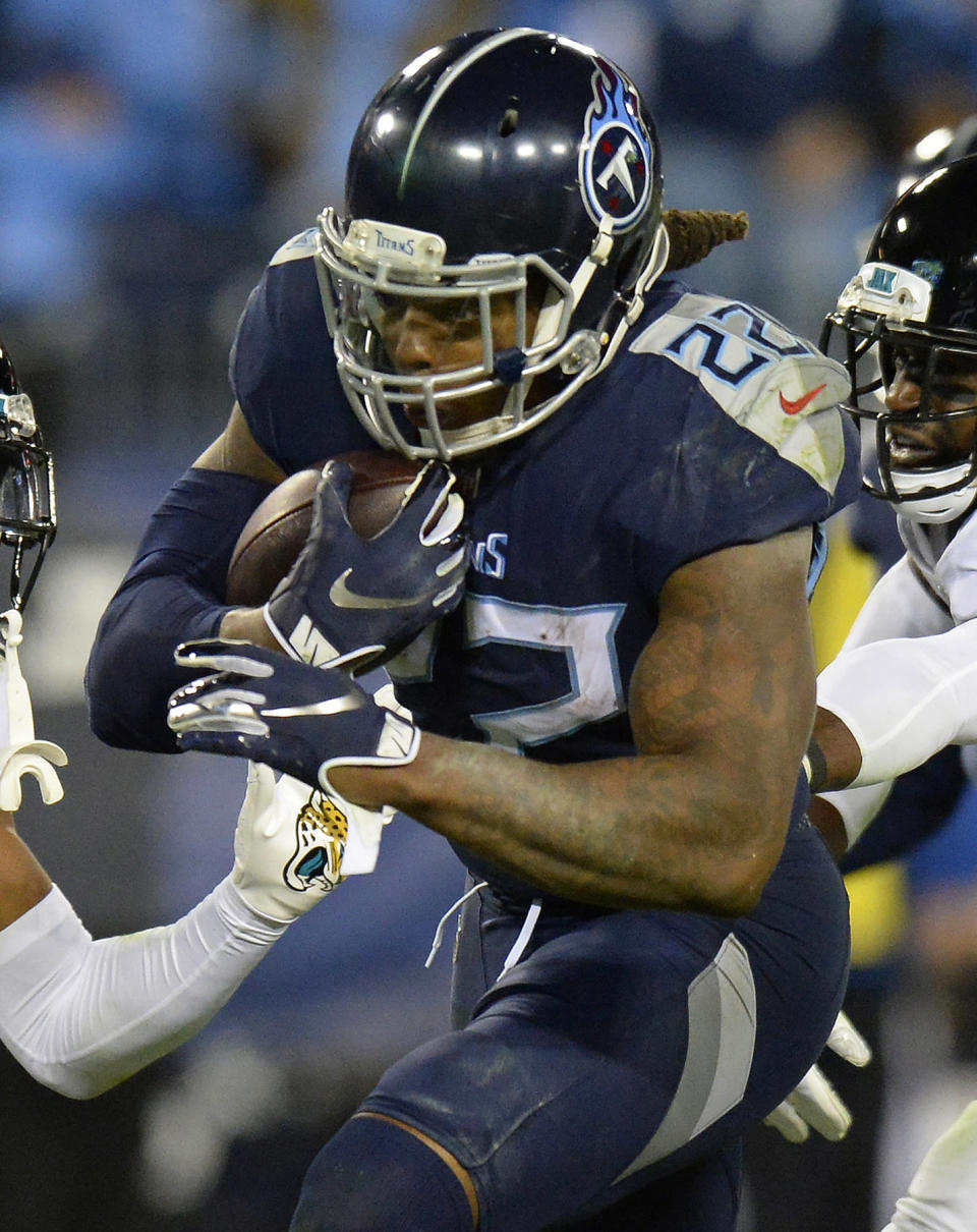 FILE - In this Dec. 6, 2018, file photo, Tennessee Titans running back Derrick Henry (22) runs for a touchdown against Jacksonville during the second half of an NFL football game, in Nashville, Tenn. Tennessee plays at the New York Giants on Sunday. (AP Photo/Mark Zaleski, File)