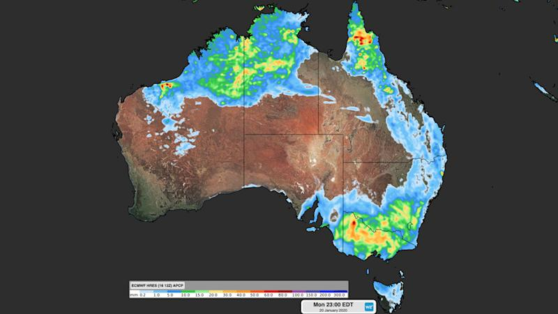 Weatherzone map of upcoming severe weather forecast in Australia