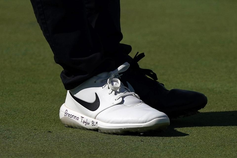 OLYMPIA FIELDS, ILLINOIS - AUGUST 27: A detailed view of shoes worn by Cameron Champ of the United States read