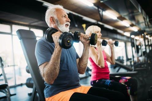 """<span class=""""caption"""">Strength training can improve bone density, muscle mass, and physical ability in older people.</span> <span class=""""attribution""""><a class=""""link rapid-noclick-resp"""" href=""""https://www.shutterstock.com/image-photo/happy-senior-people-doing-exercises-gym-1426125440"""" rel=""""nofollow noopener"""" target=""""_blank"""" data-ylk=""""slk:NDAB Creativity/ Shutterstock"""">NDAB Creativity/ Shutterstock</a></span>"""