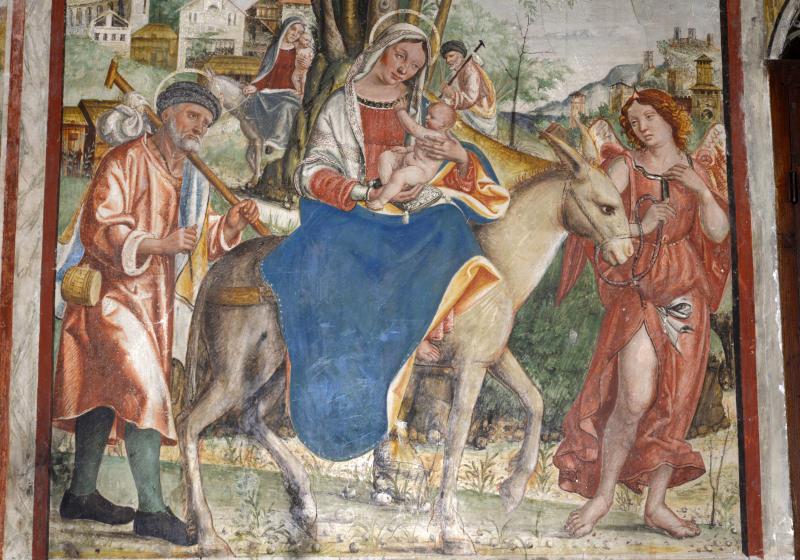 Jesus'flight into Egypt is depicted in a 16th-century fresco by Francesco da Milano, located in a cathedral in the Veneto region of Italy. (DEA / V. GIANNELLA via Getty Images)