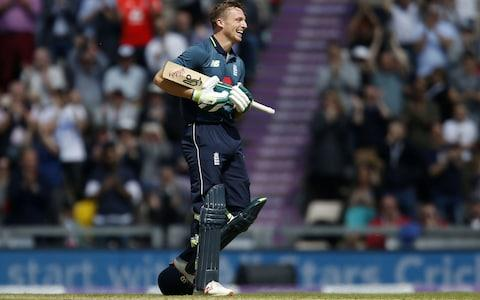 Jos Buttler paid tribute to his newborn daughter Georgia when he posted his century - Credit: IN KINGTON/AFP/Getty Images