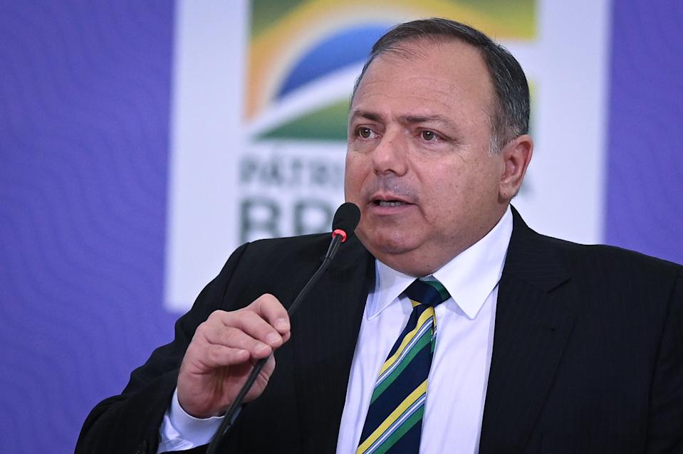 Brazil's Health Minister Eduardo Pazuello speaks during the launching ceremony of the National Vaccination Operationalization Plan against COVID-19 at Planalto Palace in Brasilia, Brazil, on Wednesday, Dec. 16, 2020. (Photo by Andre Borges/NurPhoto via Getty Images)