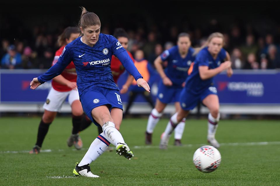KINGSTON UPON THAMES, ENGLAND - NOVEMBER 17: Maren Mjelde of Chelsea scores her team's first goal during the Barclays FA Women's Super League match between Chelsea and Manchester United at Kingsmeadow on November 17, 2019 in Kingston upon Thames, United Kingdom. (Photo by Harriet Lander - Chelsea FC/Chelsea FC via Getty Images)