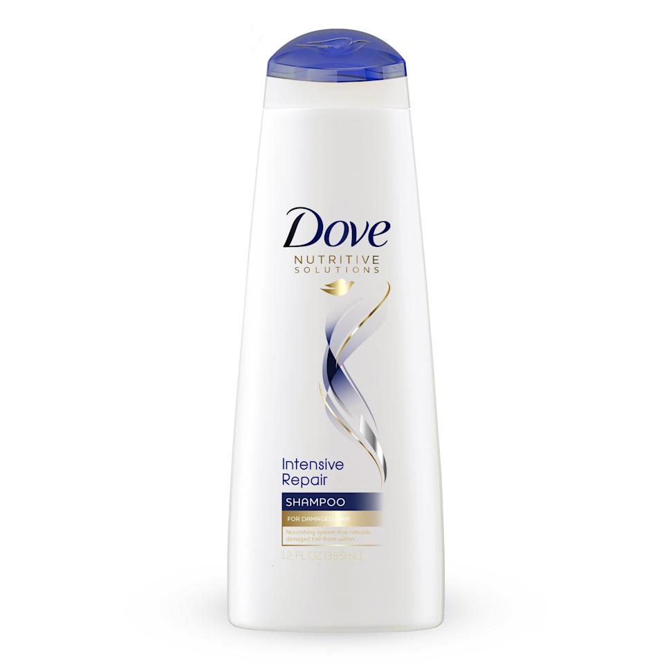 """<p>You hair's natural oils keep it looking shiny, but many traditional shampoos strip them away. No bueno. Look for a shampoo is described as """"anti-breakage,"""" """"strengthening,"""" """"restorative,"""" or """"repairing,"""" since that means the shampoo uses ingredients that help to thicken the hair and temporarily seal split ends. We like <a rel=""""nofollow"""" href=""""https://www.target.com/p/dove-nutritive-solutions-shampoo-intensive-repair-25-4oz/-/A-12200299?mbid=synd_yahoolife"""">Dove Intensive Repair Shampoo</a>, which works with the keratin in your hair to help fix the damaged protein structures.</p><p>$5.99 (<a rel=""""nofollow"""" href=""""https://www.target.com/p/dove-nutritive-solutions-shampoo-intensive-repair-25-4oz/-/A-12200299?mbid=synd_yahoolife"""">Shop Now</a>)</p>"""