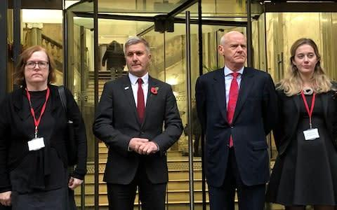 <span>Richard Freeman with QC, Mary O'Rourke (left) and his defence team</span> <span>Credit: PA </span>