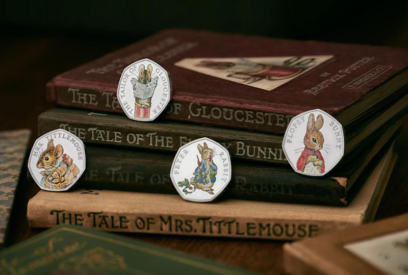 A collection of new coins featuring Beatrix Potter characters: Royal Mint
