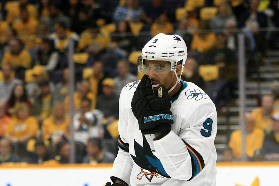 Sharks forward Evander Kane recently opened up about his gambling issues while strongly denying recent accusations made by his estranged wife Anna. (Getty)