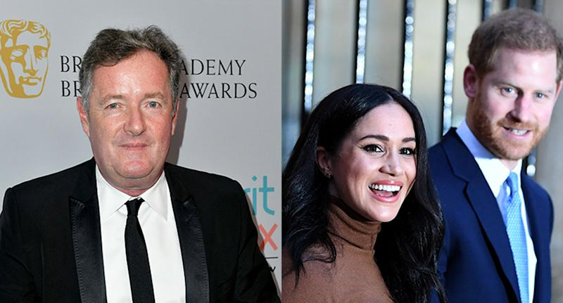 Piers Morgan has criticised the Duke and Duchess' decision to step back from their role as senior royals. (Frazer Harrison/Getty Images for BAFTA LA. (Daniel Leal-Olivas - WPA Pool/Getty Images)