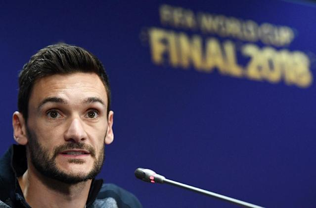 France goalkeeper Hugo Lloris speaks to the press at the Luzhniki Stadium in Moscow (AFP Photo/FRANCK FIFE )