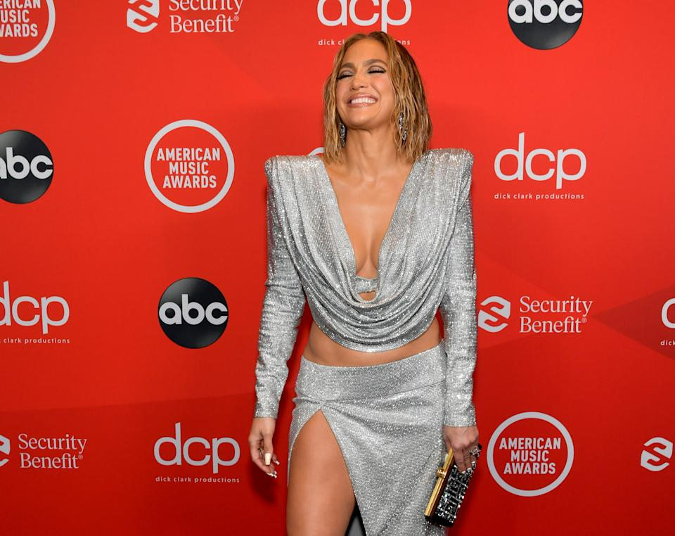 LOS ANGELES, CALIFORNIA - NOVEMBER 22: In this image released on November 22, Jennifer Lopez attends the 2020 American Music Awards at Microsoft Theater on November 22, 2020 in Los Angeles, California. (Photo by Emma McIntyre /AMA2020/Getty Images for dcp)