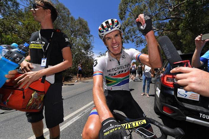 Mitchelton-Scott's Daryl Impey celebrates winning the 2019 Tour Down Under