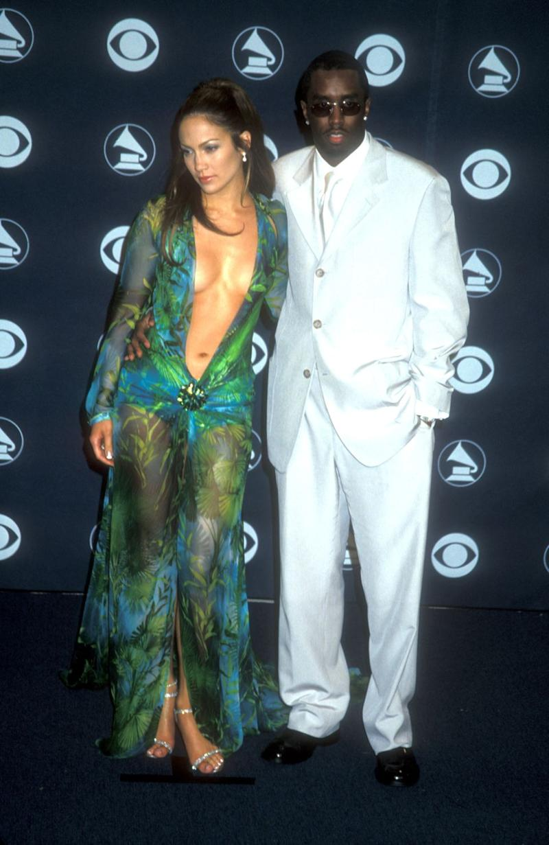 Jennifer Lopez & Puff Daddy at the Grammys in Los Angeles, California on 2-23-2000 at the Staple Center. (Photo by Barry King/WireImage)