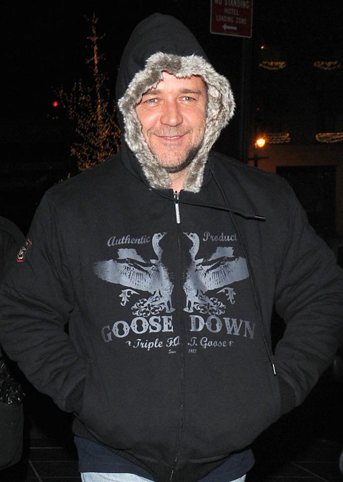 "Russell Crowe's fur-trimmed hood transformed the famously cranky ""Gladiator"" into a giant teddy bear. Ron Asadorian/<a href=""http://www.splashnewsonline.com"" target=""new"">Splash News</a> - November 27, 2009"