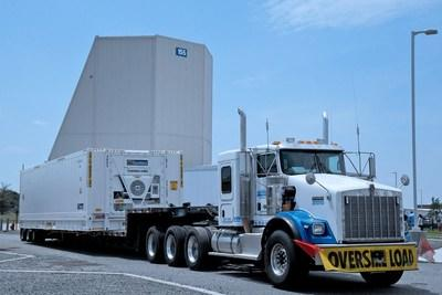 A truck transporting the first radar panel to Clear Air Force Station prepares to leave Lockheed Martin's Moorestown, NJ, facility. Photo courtesy of Lockheed Martin.