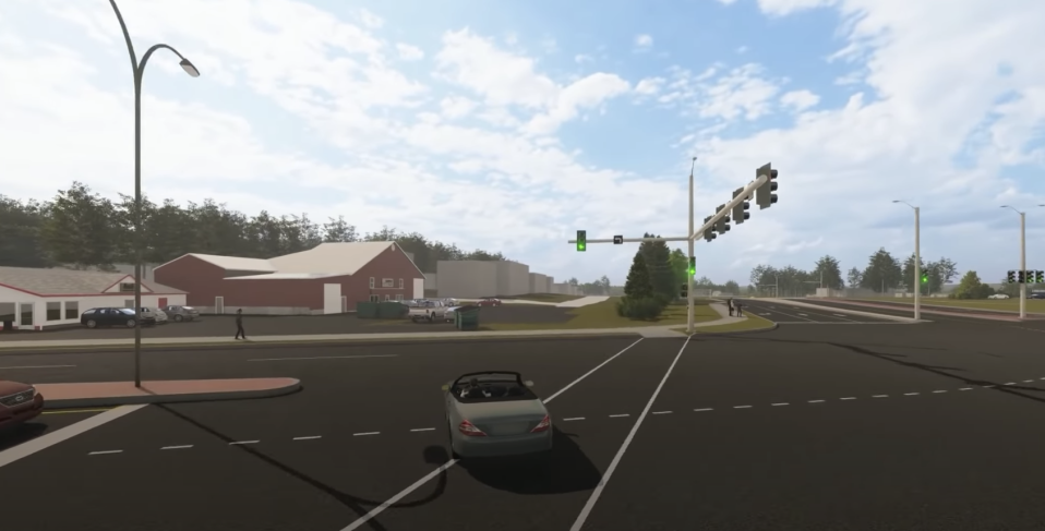 A video shows a car passing through an intersection in Charlotteville, Canada.