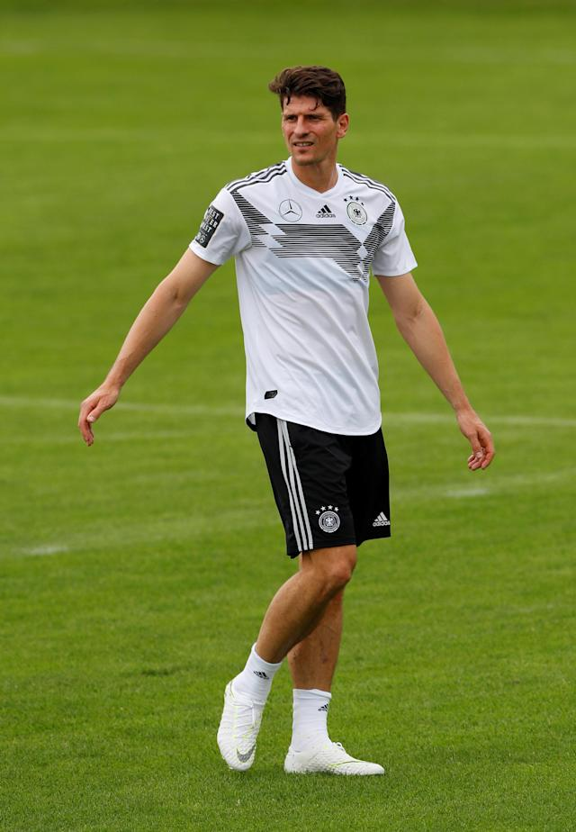 Soccer Football - FIFA World Cup - Germany Training - Eppan, Italy - May 24, 2018 Germany's Mario Gomez during training REUTERS/Leonhard Foeger