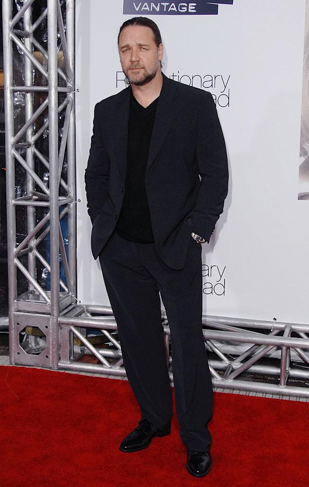 """<a href=""""http://movies.yahoo.com/movie/contributor/1800019188"""">Russell Crowe</a> at the Los Angeles premiere of <a href=""""http://movies.yahoo.com/movie/1809883886/info"""">Revolutionary Road</a> - 12/15/2008"""