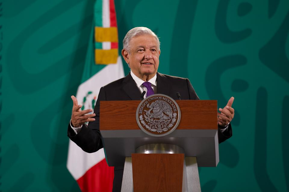 MEXICO CITY, MEXICO - JULY 28, 2021: Mexicos President Andres Manuel Lopez Obrador, talks about spy software Pegasus during his daily news conference at National Palace on July 28, 2021 in Mexico City, Mexico. (Photo credit should read Julian Lopez / Eyepix Group/Barcroft Media via Getty Images)
