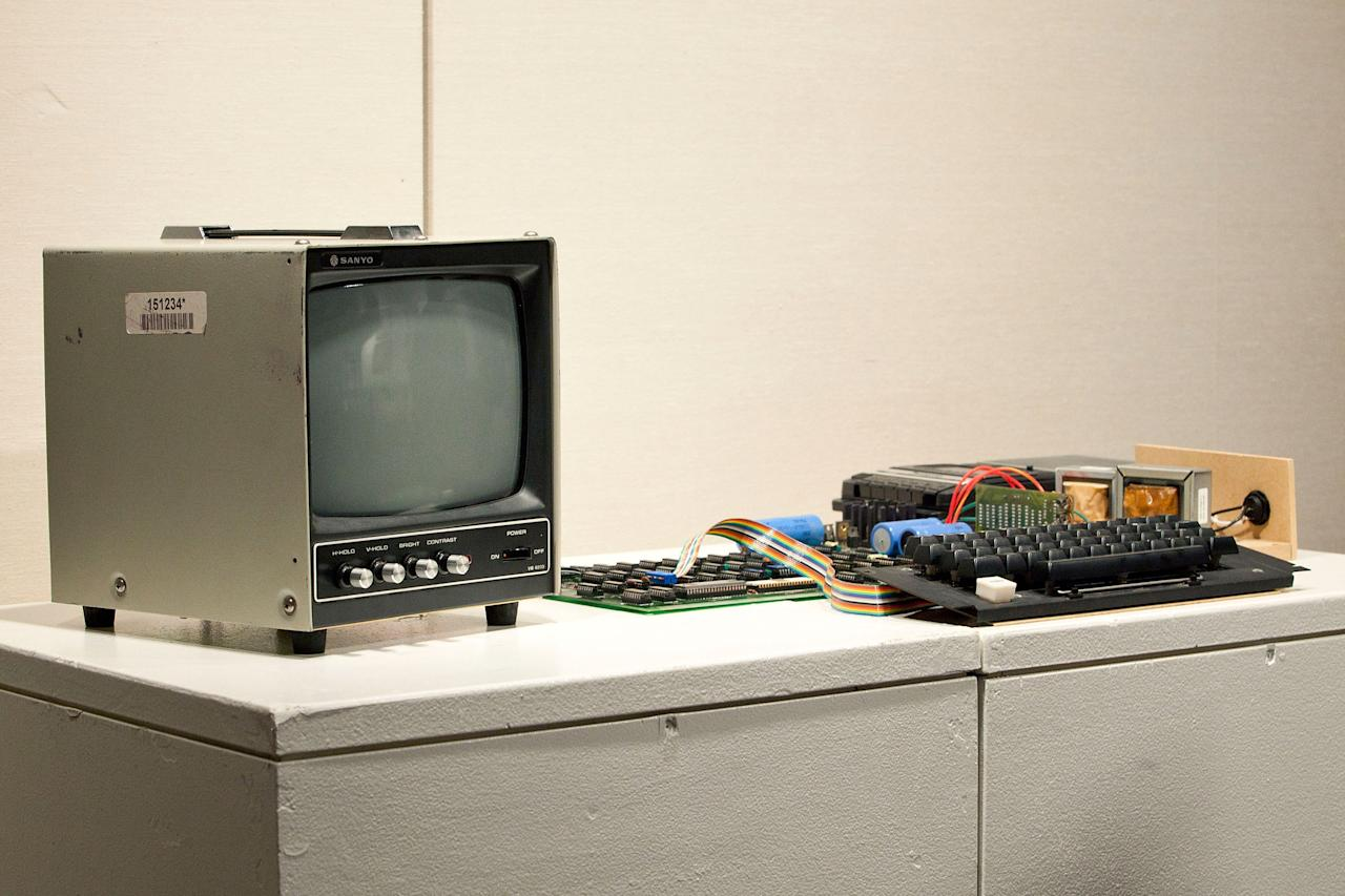 The Apple l, the first Apple computer made by Steve Jobs and Steve Wozniak in 1976, is seen on display at Sotheby's on June 8, 2012 in New York City. The computer was an integral component to the the personal computing revolution; it is set to be auctioned on June 15, 2012 and is expected to earn between $120,000 and $180,000. When originally sold, the monitor, keyboard and cassette interface were sold separately. It is believed less than 50 of the original Apple l are still in existence, with only six known to be in working condition. (Photo by Andrew Burton/Getty Images)