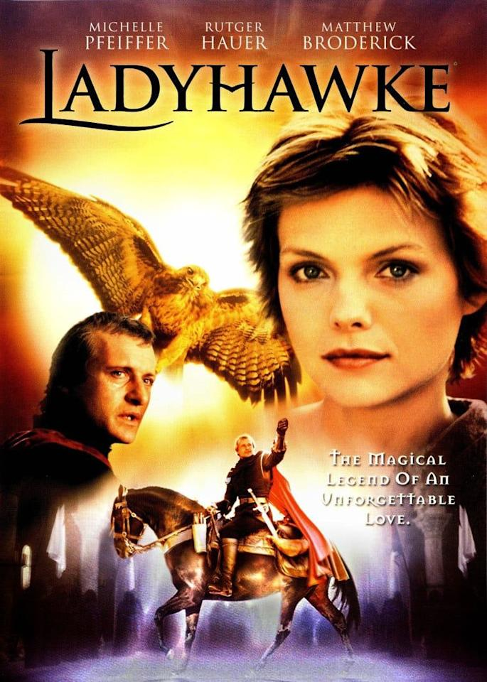 <p>Michelle Pfeiffer and Matthew Broderick star in this romantic fantasy that, surprisingly, has no relation to 2018's <em>Lady Bird</em>. Set in medieval France, <em>LadyHawke</em> tells the story of a pickpocket and a knight on a journey to find love and defeat evil.</p>