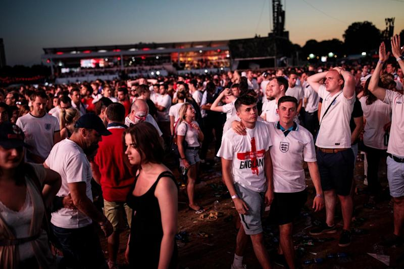 Dejected fans leave Hyde Park (Getty Images)