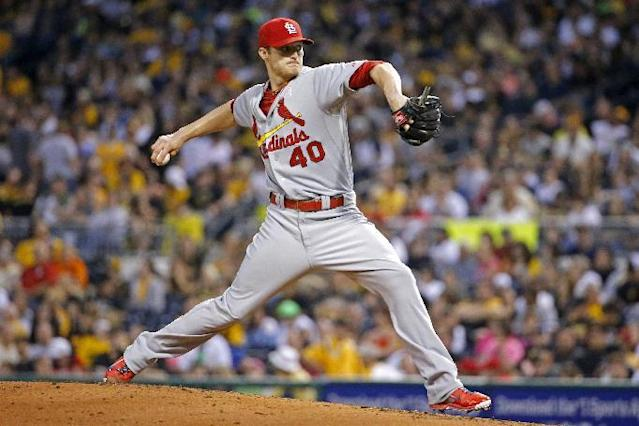 St. Louis Cardinals starting pitcher Shelby Miller (40) delivers during the first inning of a baseball game against the Pittsburgh Pirates in Pittsburgh Sunday, May 11, 2014. (AP Photo/Gene Puskar)