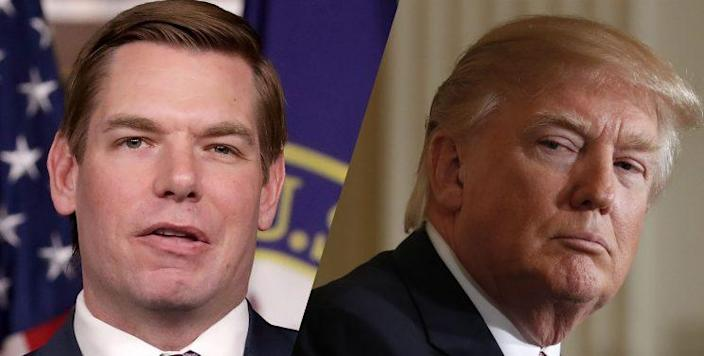 Rep. Eric Swalwell and President Trump (Photos: Chip Somodevilla/Getty Images, Carolyn Kaster/AP)