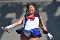 """In the lead-up to Halloween, the singer and her backup dancers dressed up as <a href=""""https://www.teenvogue.com/story/brief-history-of-sailor-moon-fashion-beauty?mbid=synd_yahoo_rss"""" rel=""""nofollow noopener"""" target=""""_blank"""" data-ylk=""""slk:Sailor Moon"""" class=""""link rapid-noclick-resp""""><em>Sailor Moon</em></a>'s Sailor Scouts for the Voodoo Music & Arts Experience in 2018. The fact that Lizzo is a fan of this anime classic makes her even more relatable in our minds."""