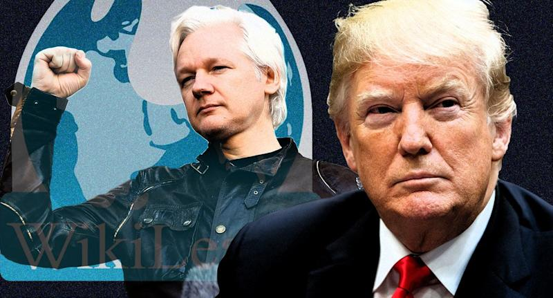 Julian Assange and President Trump. (Photo illustration: Yahoo News; photos: AP)