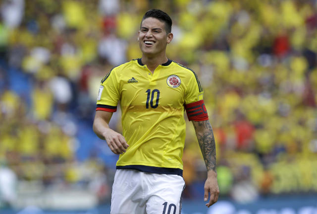 Colombia's James Rodriguez smiles after an attempt on goal during a 2018 Russia World Cup qualifying match(AP Photo/Fernando Vergara)