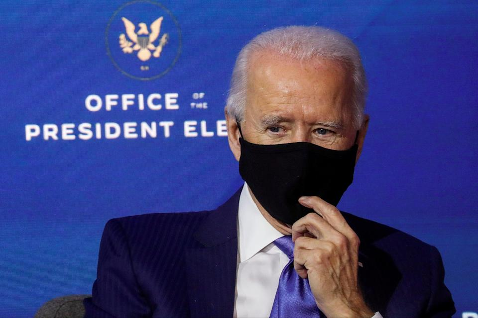Joe Biden is to call for 100-days of mask wearing in the US (REUTERS)