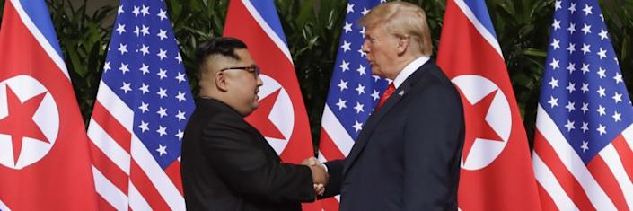 "President Trump and North Korea's Kim Jong Un meet in Singapore in 2018. <span class=""copyright"">(Evan Vucci / Associated Press)</span>"