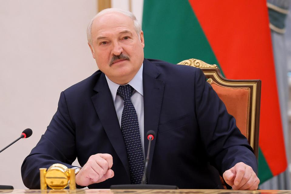 FILE - In this May 28, 2021, file photo, Belarus President Alexander Lukashenko addresses prime ministers from countries that were once part of the former Soviet Union at a meeting, in Minsk, Belarus. Political prisoners in Belarus are coming under increasing pressure following the recent arrest of activist Raman Pratasevich from a forcibly diverted Ryanair flight. Human rights groups say these prisoners have been marked with yellow tags sewn into their prison uniforms to single them out from regular prisoners. (Sergei Sheleg/BelTA Pool Photo via AP, File)