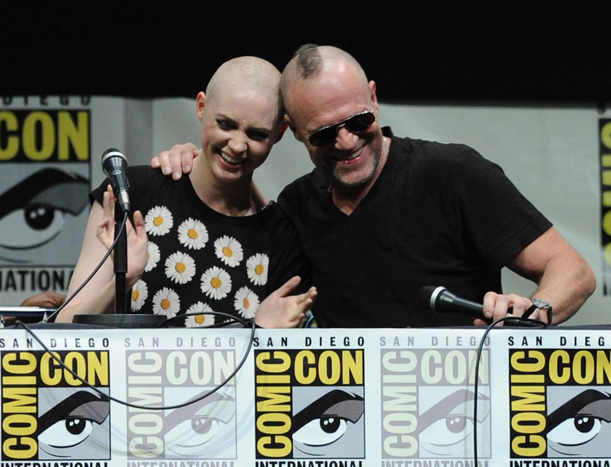 "SAN DIEGO, CA - JULY 20: (L-R) Actors Karen Gillan (L) and Michael Rooker speak onstage at Marvel Studios ""Guardians of the Galaxy"" during Comic-Con International 2013 at San Diego Convention Center on July 20, 2013 in San Diego, California. (Photo by Kevin Winter/Getty Images)"