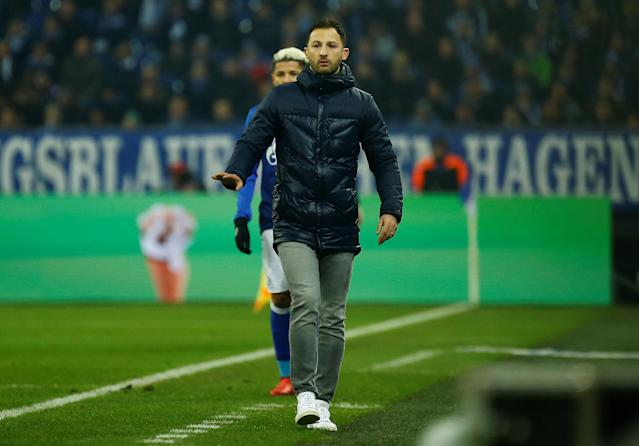 Soccer Football - Bundesliga - Schalke 04 vs TSG 1899 Hoffenheim - Veltins-Arena, Gelsenkirchen, Germany - February 17, 2018 Schalke coach Domenico Tedesco REUTERS/Leon Kuegeler DFL RULES TO LIMIT THE ONLINE USAGE DURING MATCH TIME TO 15 PICTURES PER GAME. IMAGE SEQUENCES TO SIMULATE VIDEO IS NOT ALLOWED AT ANY TIME. FOR FURTHER QUERIES PLEASE CONTACT DFL DIRECTLY AT + 49 69 650050