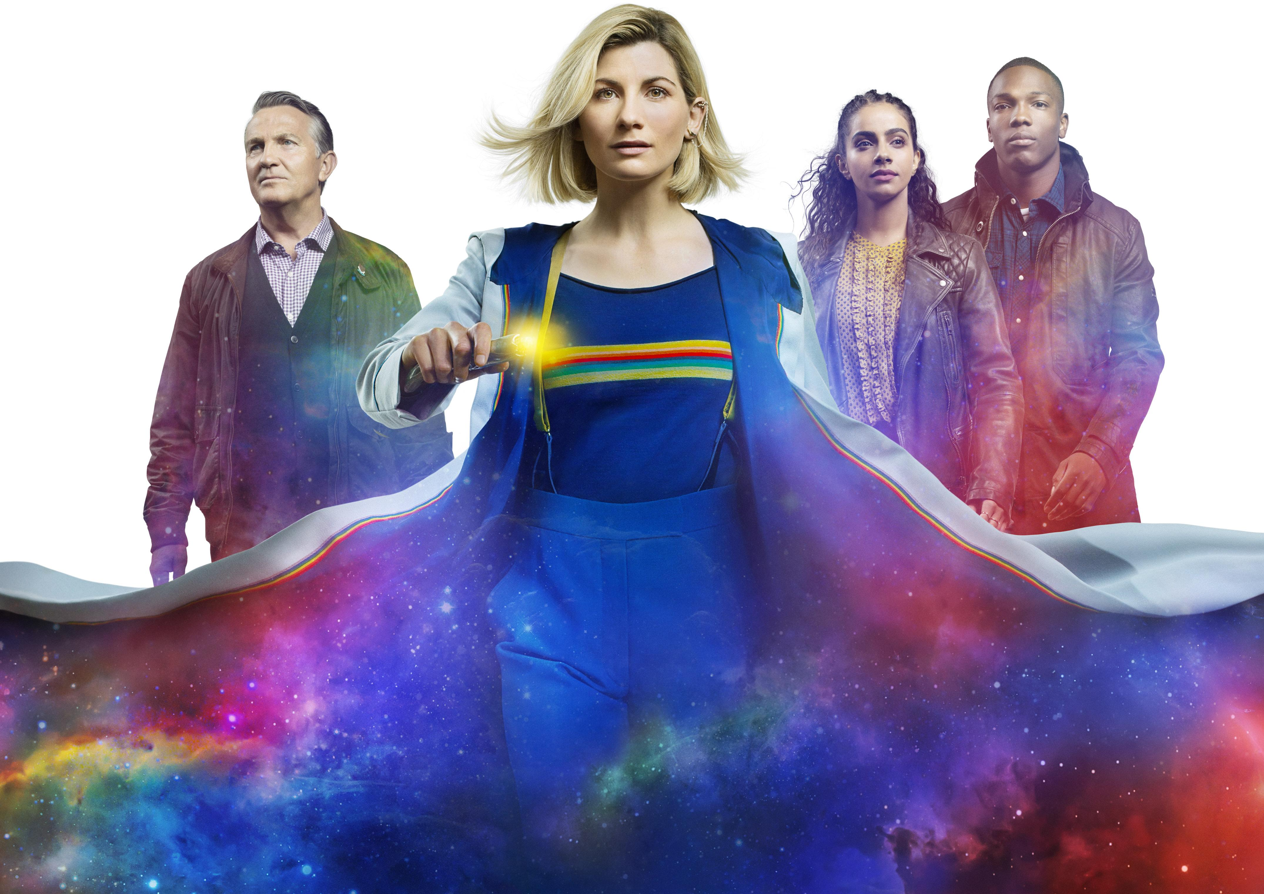 Graham (BRADLEY WALSH), The Doctor (JODIE WHITTAKER), Yaz (MANDIP GILL), Ryan (TOSIN COLE) - (BBC Studios/Alan Clarke)