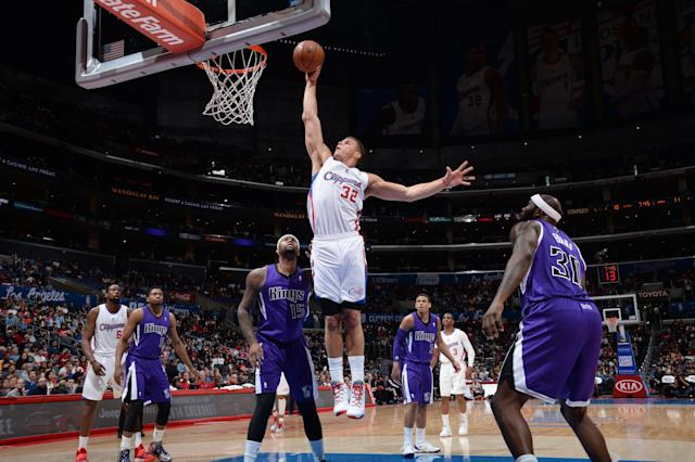 LOS ANGELES, CA - APRIL 12: Blake Griffin #32 of the Los Angeles Clippers dunks against the Sacramento Kings at Staples Center on April 12, 2014 in Los Angeles, California. (Photo by Noah Graham/NBAE via Getty Images)