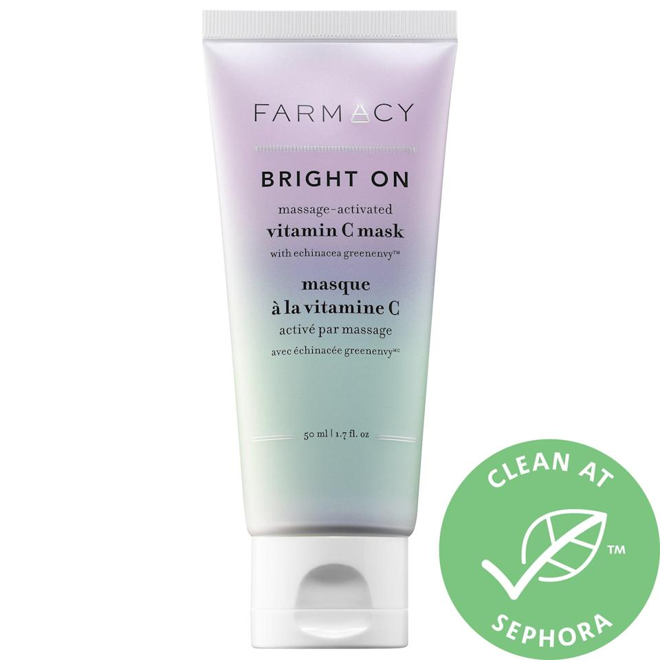 """<p>Improve skin's texture and tone with this <a href=""""https://www.popsugar.com/buy/Farmacy-Bright-Massage-Activated-Vitamin-C-Mask-366553?p_name=Farmacy%20Bright%20On%20Massage-Activated%20Vitamin%20C%20Mask&retailer=sephora.com&pid=366553&price=25&evar1=bella%3Aus&evar9=47494507&evar98=https%3A%2F%2Fwww.popsugar.com%2Fbeauty%2Fphoto-gallery%2F47494507%2Fimage%2F47494549%2FFarmacy-Bright-On-Massage-Activated-Vitamin-C-Mask&list1=sephora%2Cbeauty%20shopping%2Cbeauty%20sale&prop13=mobile&pdata=1"""" class=""""link rapid-noclick-resp"""" rel=""""nofollow noopener"""" target=""""_blank"""" data-ylk=""""slk:Farmacy Bright On Massage-Activated Vitamin C Mask"""">Farmacy Bright On Massage-Activated Vitamin C Mask</a> ($25, originally $38), and watch it turn from lavender to green while you wait.</p>"""