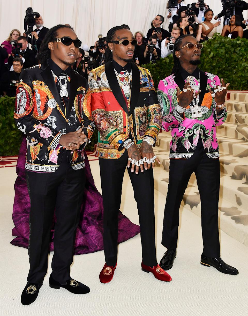"""<h1 class=""""title"""">Takeoff, Quavo, and Offset of Migos, all in Versace</h1><cite class=""""credit"""">Photo: Getty Images</cite>"""