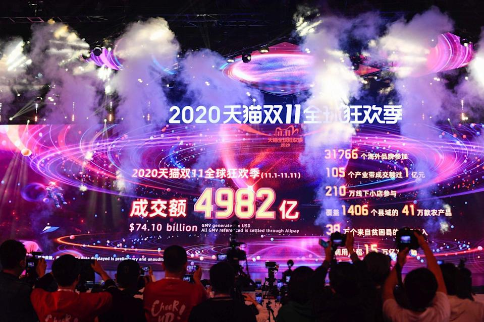 A giant screen shows sales on Alibaba's e-commerce platform during the annual Singles' Day online shopping spree at Hangzhou Future Sci-Tech City in Hangzhou, Zhejiang Province, China, on November 12, 2020. Photo: Xinhua