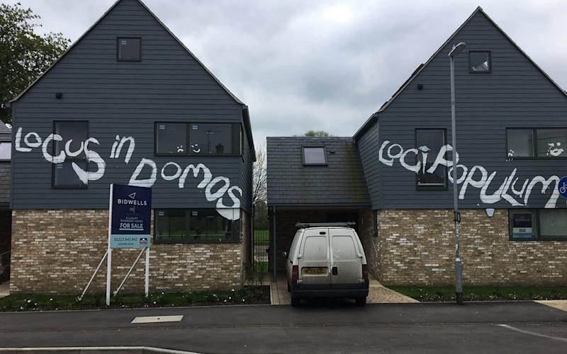 "Last night, residents said they believed the graffiti ""reflects the mood"" of the area - Credit: @RTaylorUK"