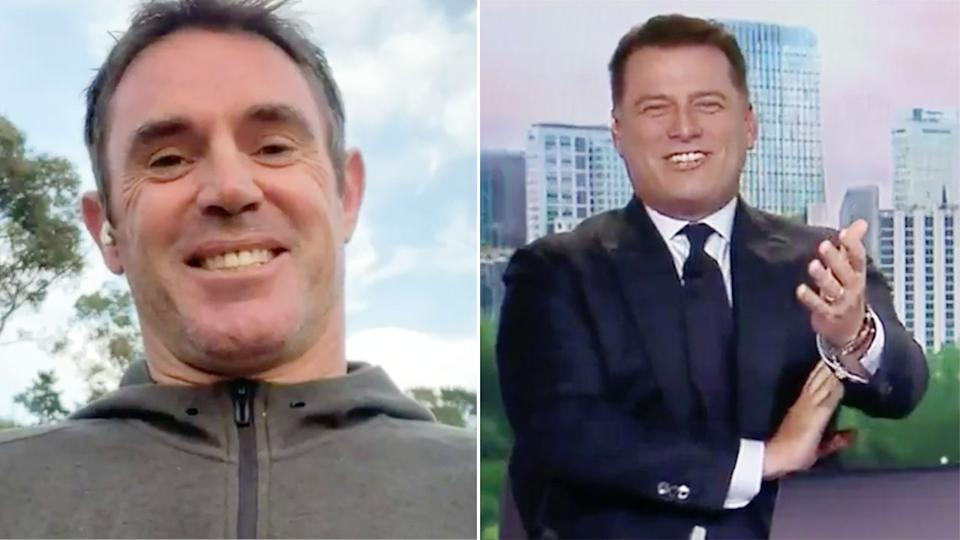 Pictured right, Karl Stefanovic laughing at Brad Fittler's take on the flu shot debate.