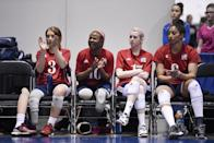 """<p>Sitting volleyball player <a href=""""https://www.instagram.com/whitneydosty/?hl=en"""" class=""""link rapid-noclick-resp"""" rel=""""nofollow noopener"""" target=""""_blank"""" data-ylk=""""slk:Whitney Dosty"""">Whitney Dosty</a> (far right in the photo above) is an outside hitter for Team USA and a <a href=""""https://www.teamusa.org/usa-volleyball/athletes/Whitney-Dosty"""" class=""""link rapid-noclick-resp"""" rel=""""nofollow noopener"""" target=""""_blank"""" data-ylk=""""slk:first-time Paralympian"""">first-time Paralympian</a> in Tokyo.</p>"""