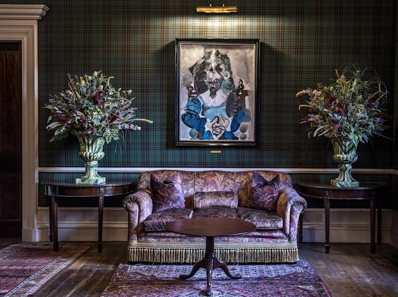 """The Fife Arms in Braemar, Scotland. Here, """"Mousquetaire Assis"""" by Pablo Picasso hangs on the wall."""