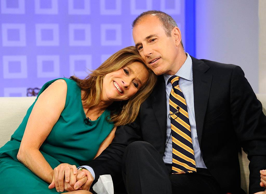 """The """"Today"""" show's Matt Lauer was a shoulder for his co-host Meredith Vieira to cry on during her last day on the show on Wednesday, which ended her five-year stint on the venerable morning program. Peter Kramer/NBC - June 8, 2011"""