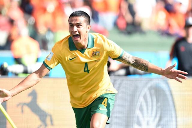 Talismanic presence: Australia's Tim Cahill celebrates scoring against the Netherlands during World Cup in Brazil four years ago (AFP Photo/JUAN BARRETO)
