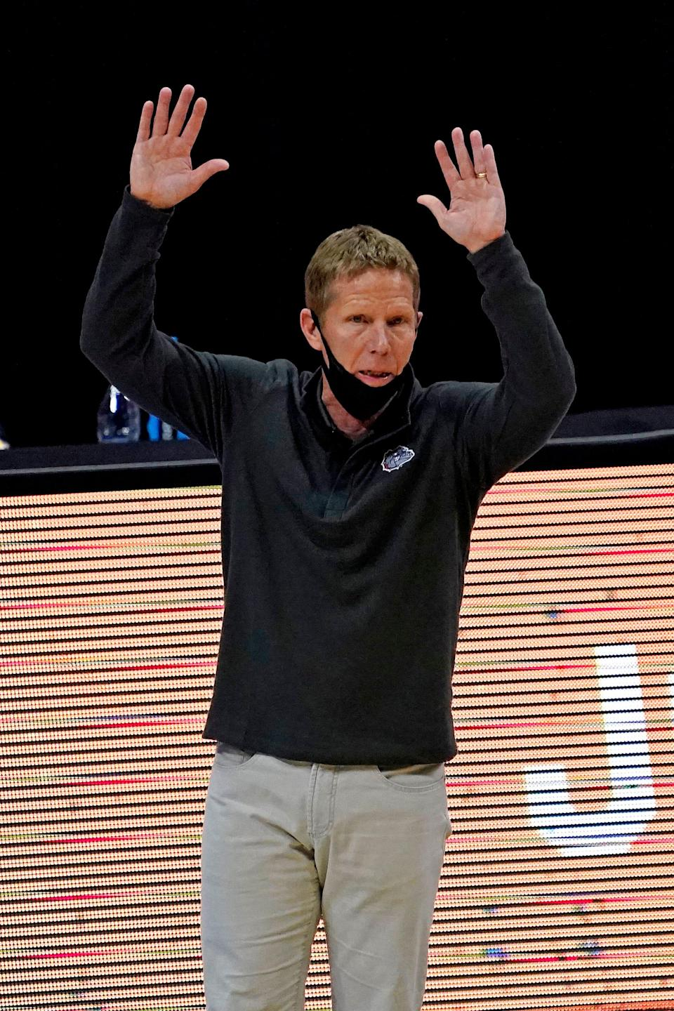 Gonzaga Bulldogs head coach Mark Few reacts during the first half against the UCLA Bruins in the national semifinals of the Final Four of the 2021 NCAA Tournament at Lucas Oil Stadium.