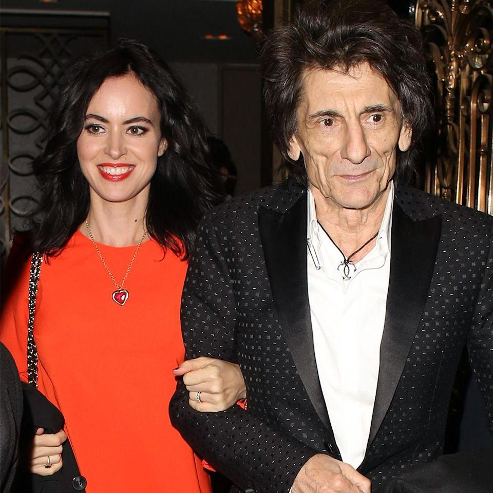"""<p><strong>Age gap: </strong>31 years </p><p>The Rolling Stones guitarist married Sally, who is 31 years his junior, in 2012, according to <em><a href=""""https://www.eonline.com/de/news/373668/rolling-stones-ronnie-wood-marries-sally-humphreys"""" rel=""""nofollow noopener"""" target=""""_blank"""" data-ylk=""""slk:E News"""" class=""""link rapid-noclick-resp"""">E News</a></em>. The couple welcomed twin daughters just before Ronnie's 69th birthday.</p>"""